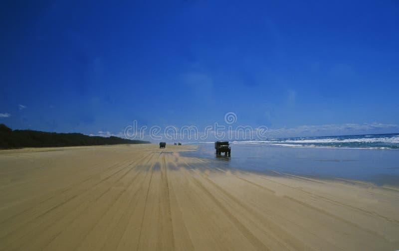 Australia: Tráfico campo a través de la playa en Fraser Island en la gran barrera de coral fotografía de archivo libre de regalías