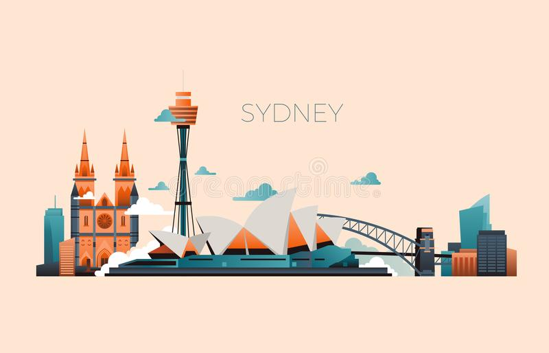 Australia travel landmark vector landscape with Sydney opera and famous buildings. Sydney city architecture, landmark and panorama building illustration stock illustration