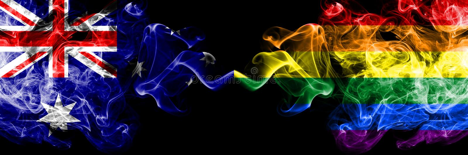 Australia vs Gay pride smoky mystic flags placed side by side. Thick colored silky smokes combination of national flags of. Australia and Gay pride royalty free stock images