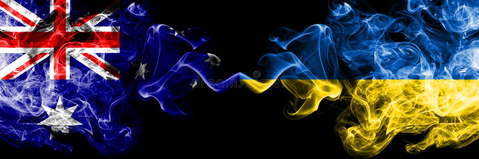 Australia vs Ukraine, Ukrainian smoky mystic flags placed side by side. Thick colored silky smokes combination of national flags. Of Australia and Ukraine vector illustration