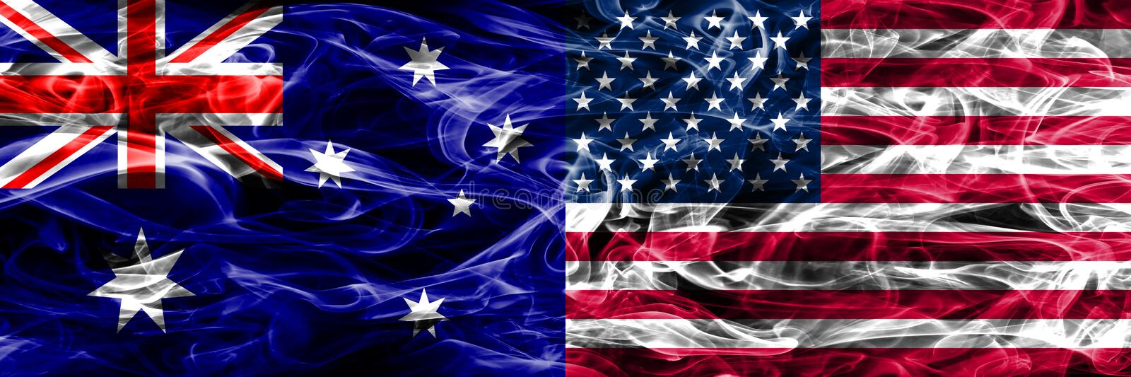 Australia vs United States of America colorful smoke flag made of thick smoke. royalty free stock images