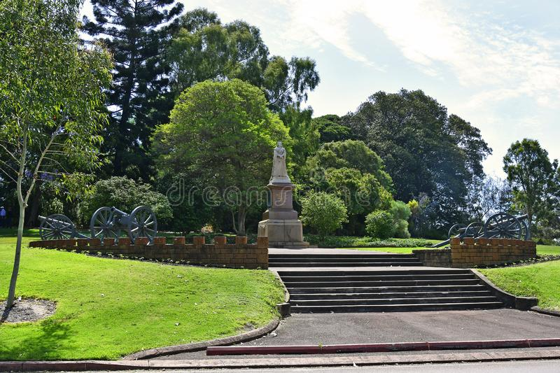 Australia, WA, Perth, Kings Park. Australia, Perth, memorial of Queen Victoria with cannons in public Kings park stock photos