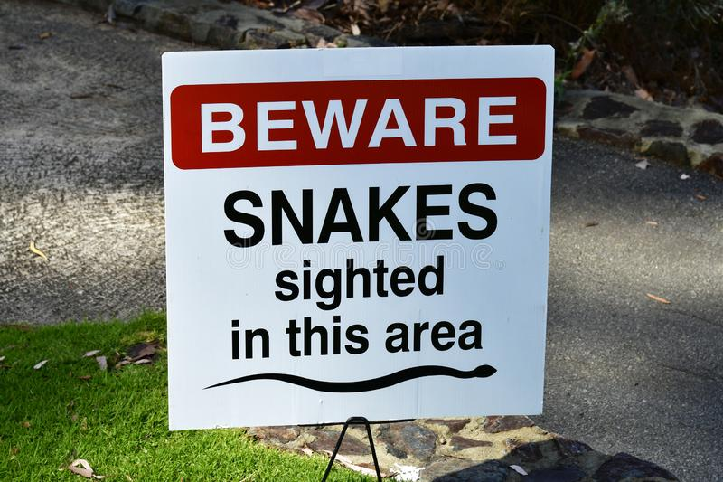 Australia, WA, Perth, Kings Park. Australia, Perth, warning sign for snakes in public Kings Park stock photography