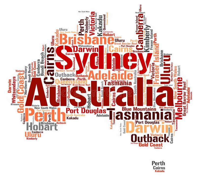 Australia wierzchołka podróży miejsc przeznaczenia słowa chmura ilustracji