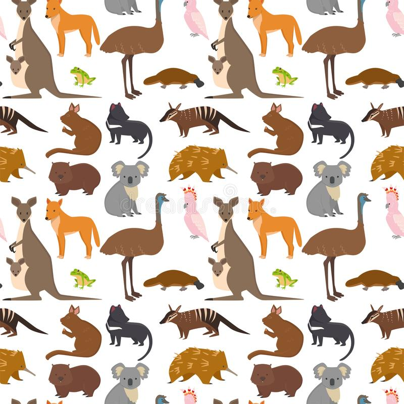Australia wild animals cartoon popular nature characters seamless pattern background flat style mammal collection vector vector illustration