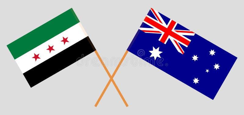 Australia y gobierno provisional de Siria Las banderas del australiano y de la coalición Colores oficiales Proporci?n correcta Ve stock de ilustración