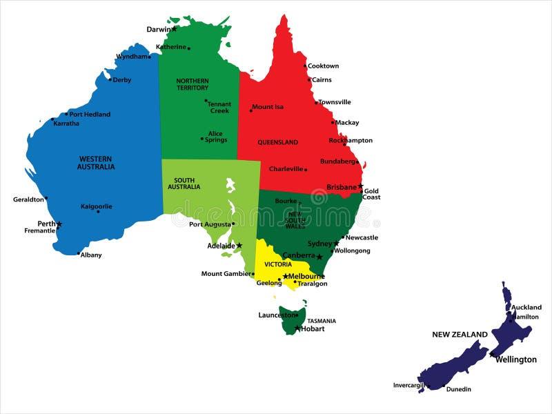 Australia y Nueva Zelandia ilustración del vector