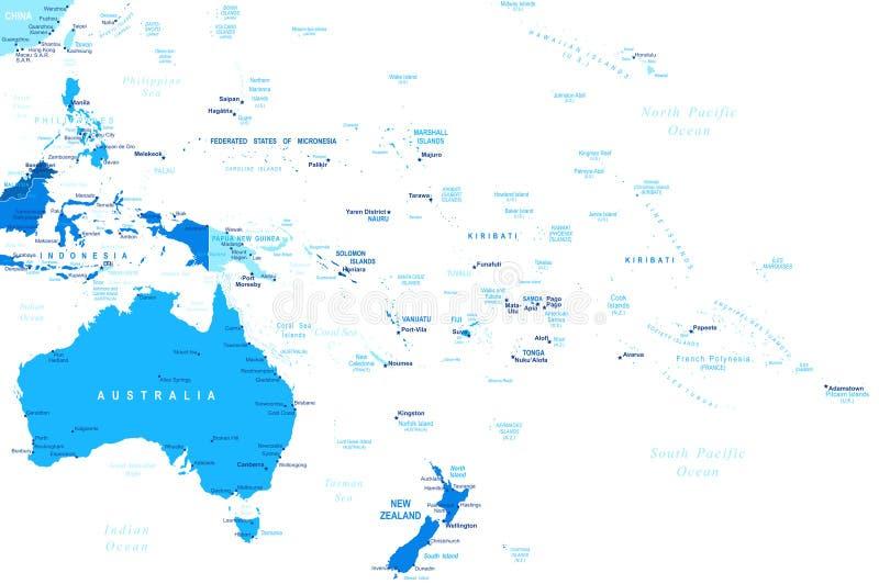 Australia Y Oceanía - Mapa - Ejemplo Ilustración del Vector ...