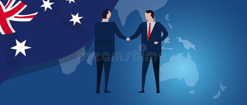 Australia zawody międzynarodowi partnerstwo Dyplomaci negocjacja Biznesowego związku zgody uścisk dłoni Kraj flaga i ilustracji