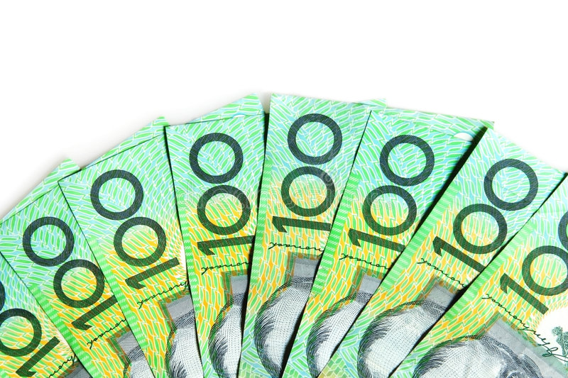 Australian $100 Bills. On white background royalty free stock images