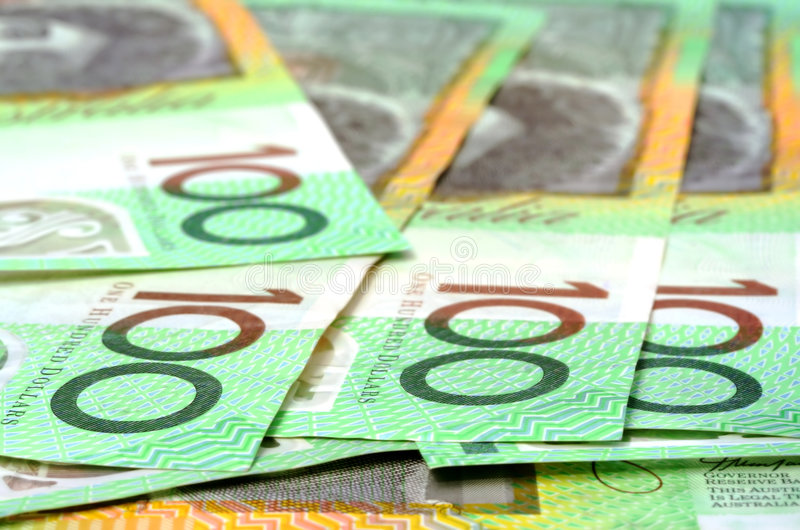 Australian $100 Notes. Shallow depth of field stock photos