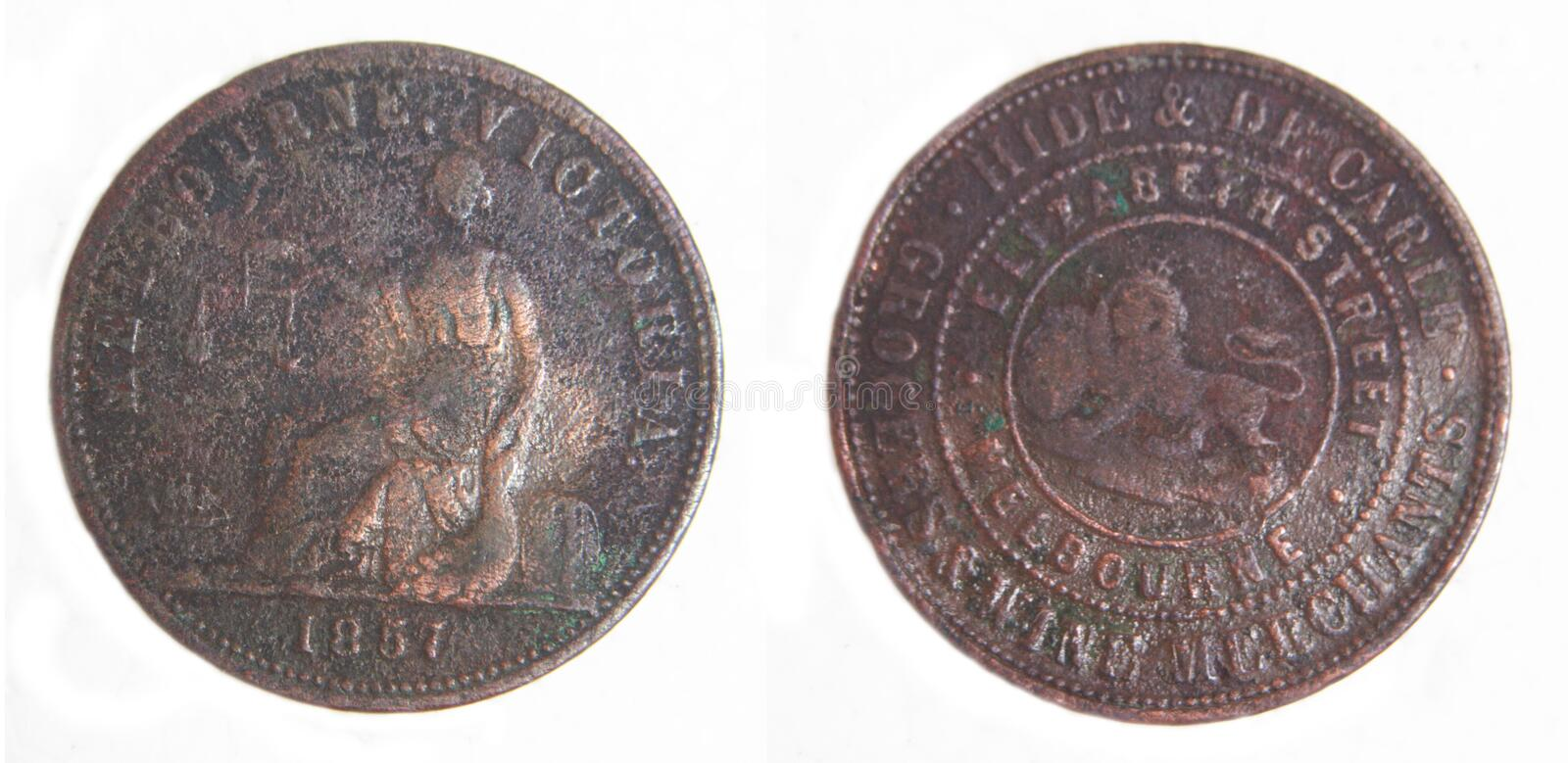Australian 1857 Penny Token scarce copper coin. Australian 1857 Penny pre-decimal scarce coper coin HIDE & DE CARLE, GROCERS & WINE MERCHANTS, MELBOURNE stock photography