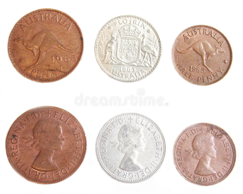 Australian 1963 Penny, Half Penny and Florin. Australian 1963 copper Penny, Half Penny and Silver Florin pre-decimal coins on isolated white background stock photography