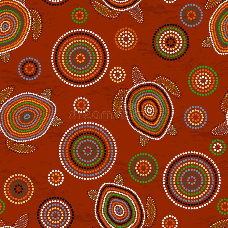 Australian Aboriginal Art. Sea turtles. Seamless pattern. Background brown. Australian Aboriginal Art. Point drawing. Sea turtles. Seamless pattern. Background royalty free illustration