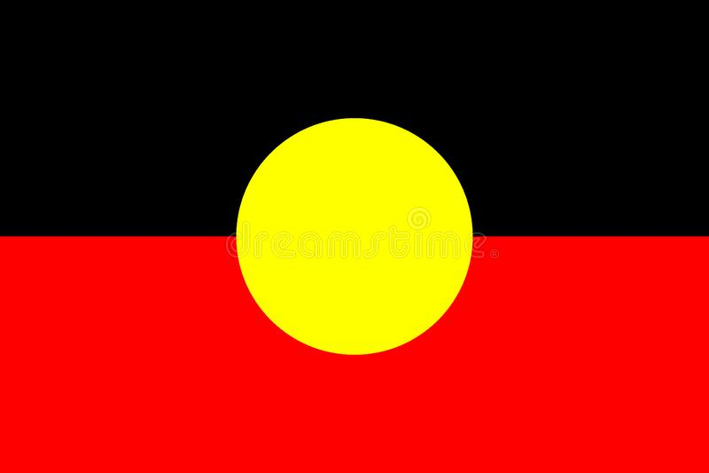 Australian Aboriginal Flag. Original and simple Aboriginal flag isolated vector in official colors and Proportion. flag of royalty free illustration