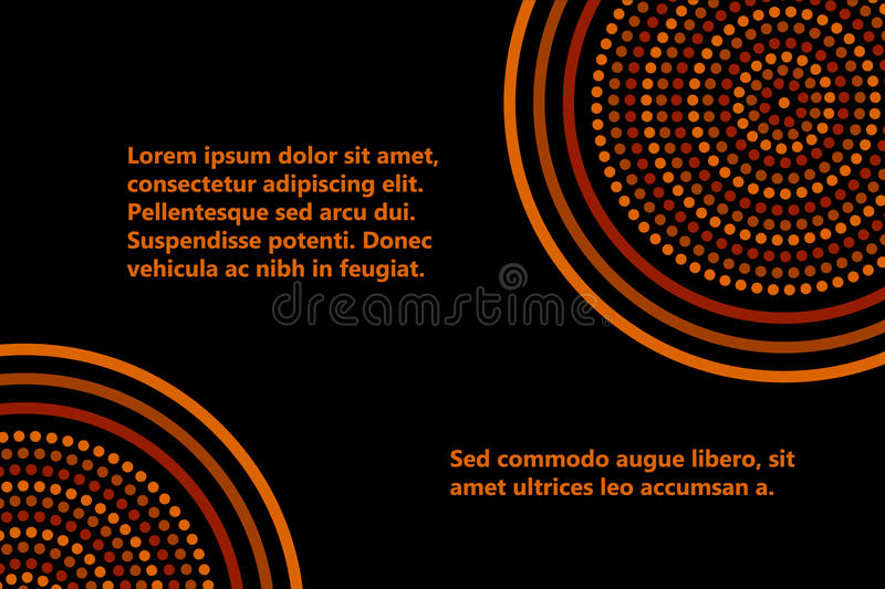 Australian aboriginal geometric art concentric circles banner template in orange brown and black, vector. Background vector illustration