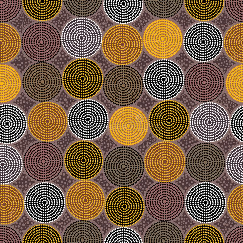 Australian aboriginal seamless vector pattern with dotted circles and crooked squares. Australian aboriginal seamless vector pattern with colorful dotted circles royalty free stock photography