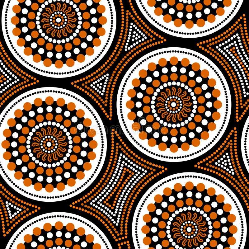 Australian aboriginal seamless vector pattern with dotted circles and crooked squares. Australian aboriginal seamless vector pattern with colorful dotted circles royalty free illustration
