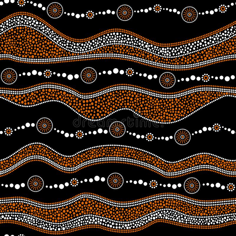 Australian aboriginal seamless vector pattern with dotted circles, rings, suns and crooked stripes. Australian aboriginal seamless vector pattern with white and vector illustration