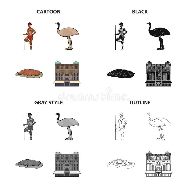 Australian aborigine, emu ostrich, Red Cliff Uluru, Queen Victoria s palace. Australia set collection icons in cartoon. Black monochrome outline style vector vector illustration