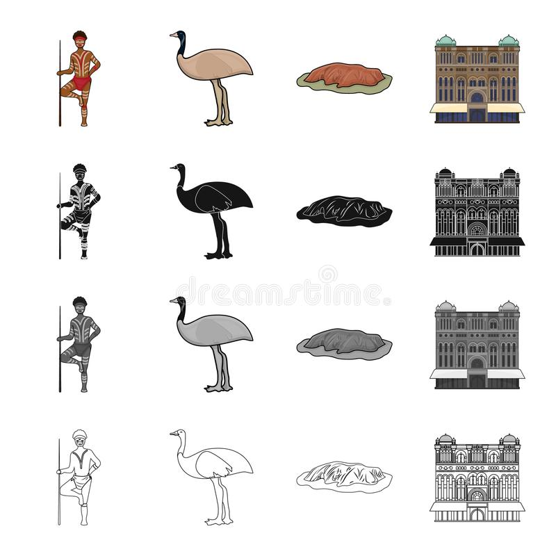 Australian aborigine, emu ostrich, Red Cliff Uluru, Queen Victoria`s palace. Australia set collection icons in cartoon. Black monochrome outline style vector royalty free illustration