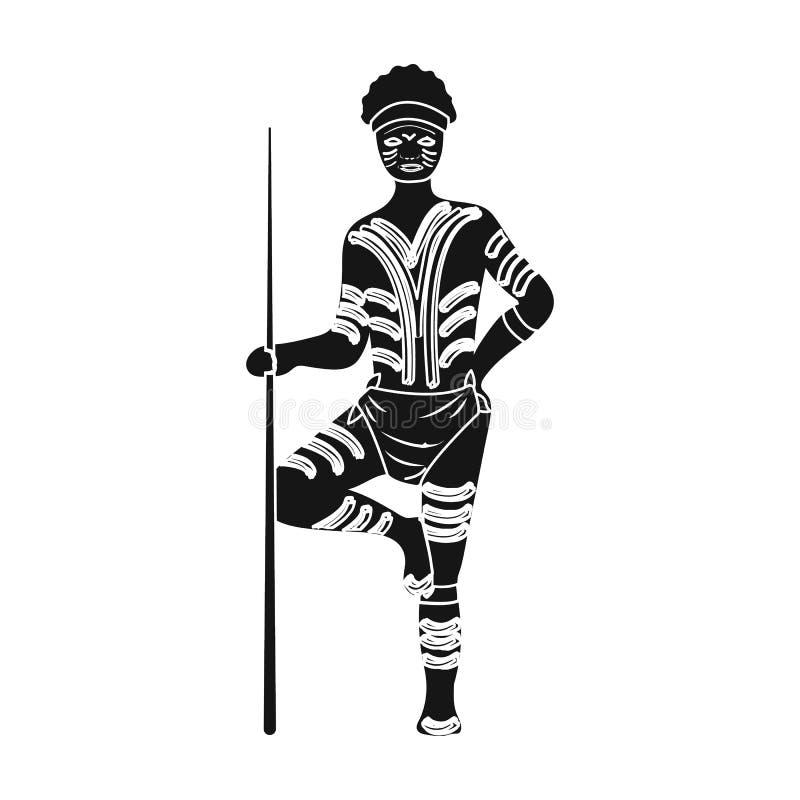 Australian aborigine icon in black style isolated on white background. Australia symbol stock vector illustration. Australian aborigine icon in black design royalty free illustration