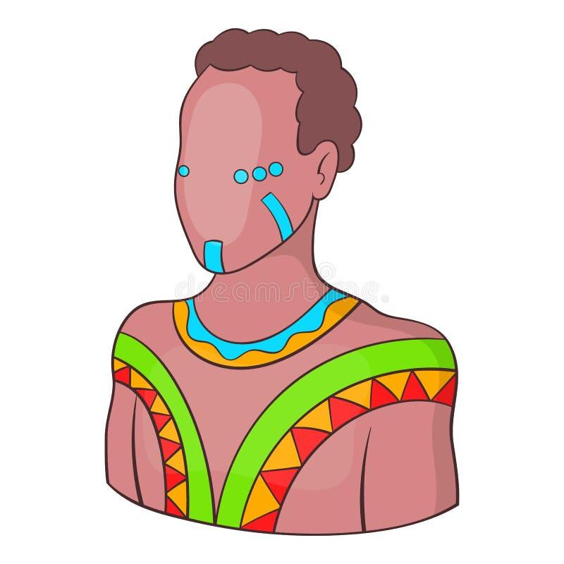 Australian aborigine icon, cartoon style. Australian aborigine icon. Cartoon illustration of australian aborigine icon for web design vector illustration