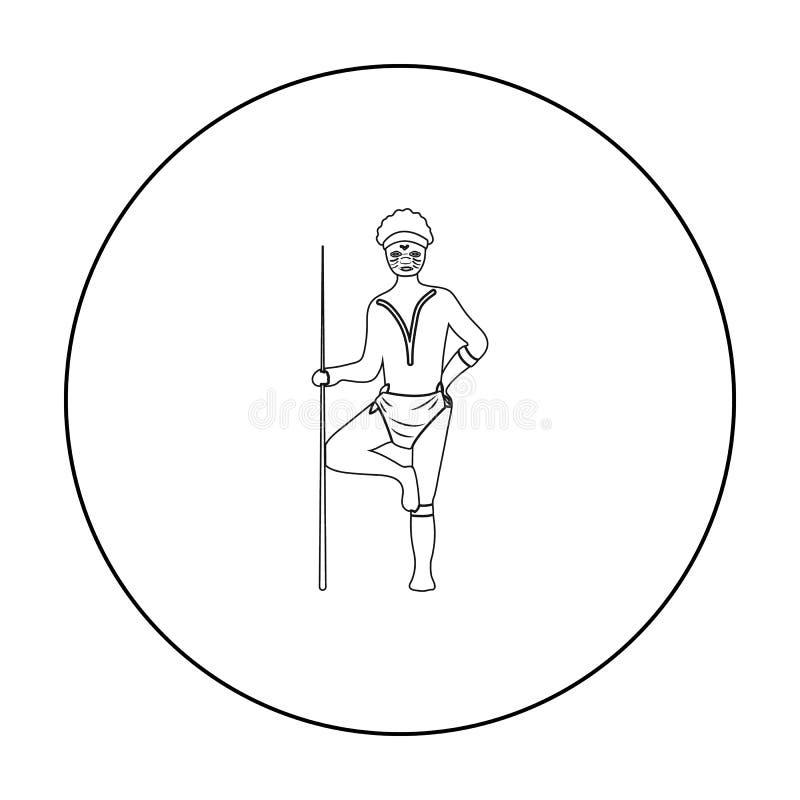 Australian aborigine icon in outline style isolated on white background. Australia symbol stock vector illustration. Australian aborigine icon in outline design vector illustration