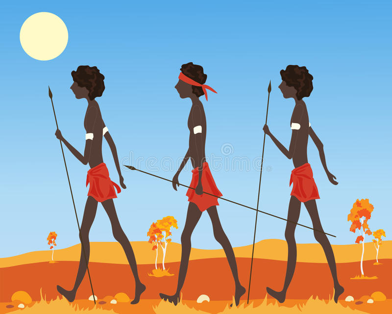 Australian aborigine. An illustration of a three australian aborigine men dressed in traditional clothing walking in the outback in a parched landscape under a stock illustration