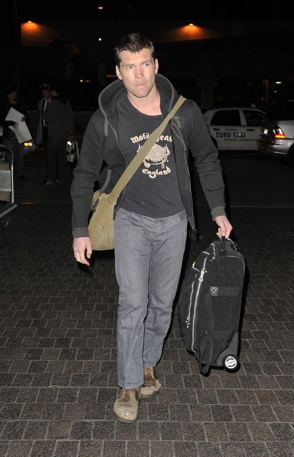 Australian actor Sam Worthington at LAX royalty free stock image