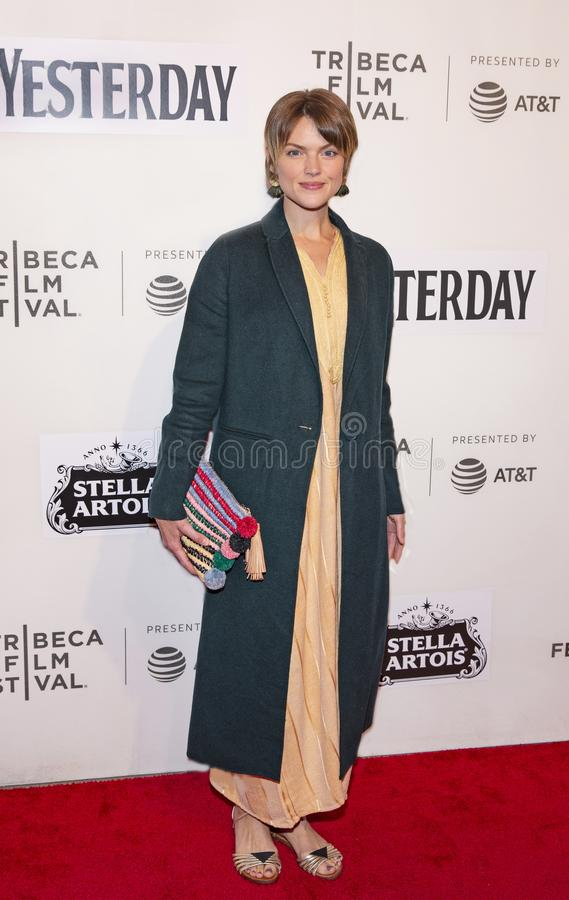Erin Richards at World Premiere of `Yesterday` at Closing Night Gala of 2019 Tribeca Film Festival. Australian actress Erin Richards arrives at the World royalty free stock photography