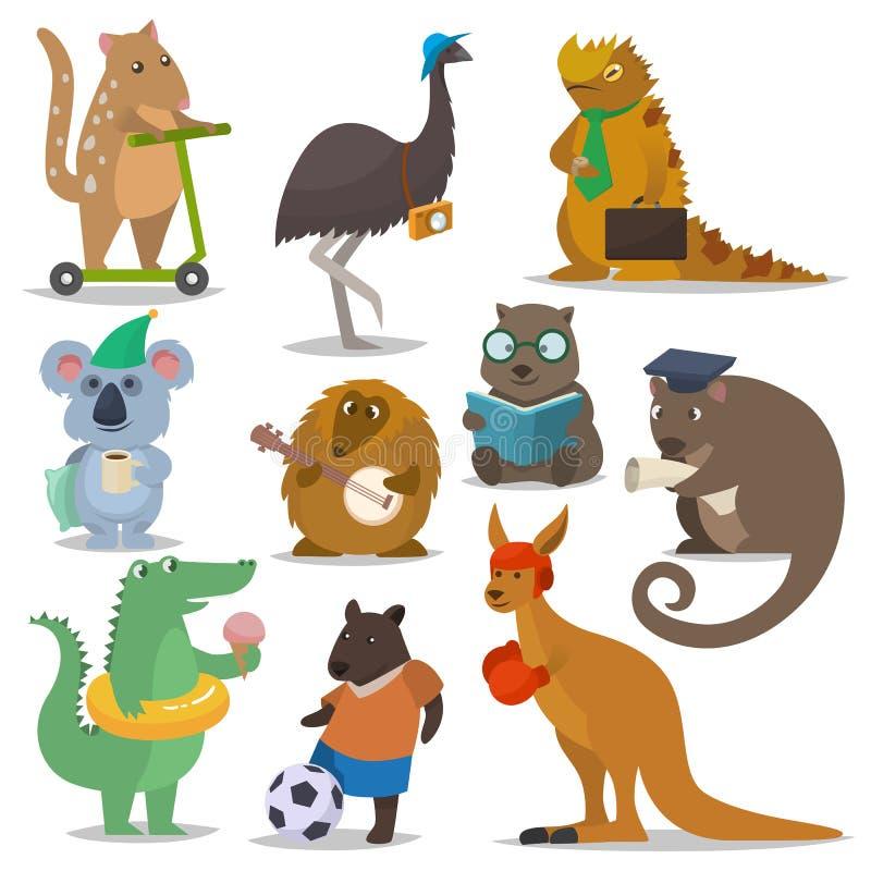 Australian animals vector cartoon animalistic character in wildlife Australia kangaroo sportsman koala crocodile stock illustration