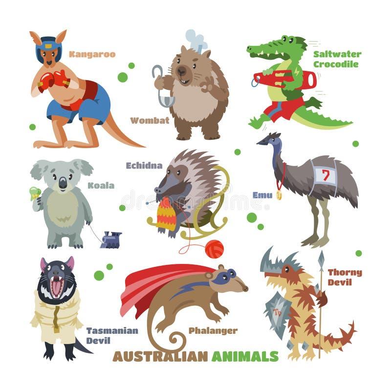 Australian animals vector cartoon animalistic character in wildlife Australia kangaroo sportsman koala crocodile in vector illustration