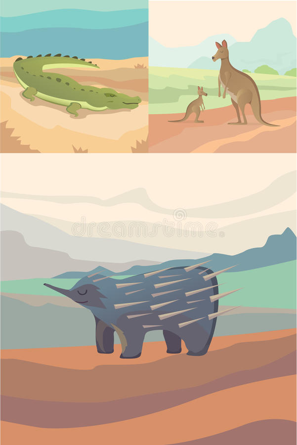 Australian animals vector crocodile, kangaroo and echidna flat style royalty free illustration