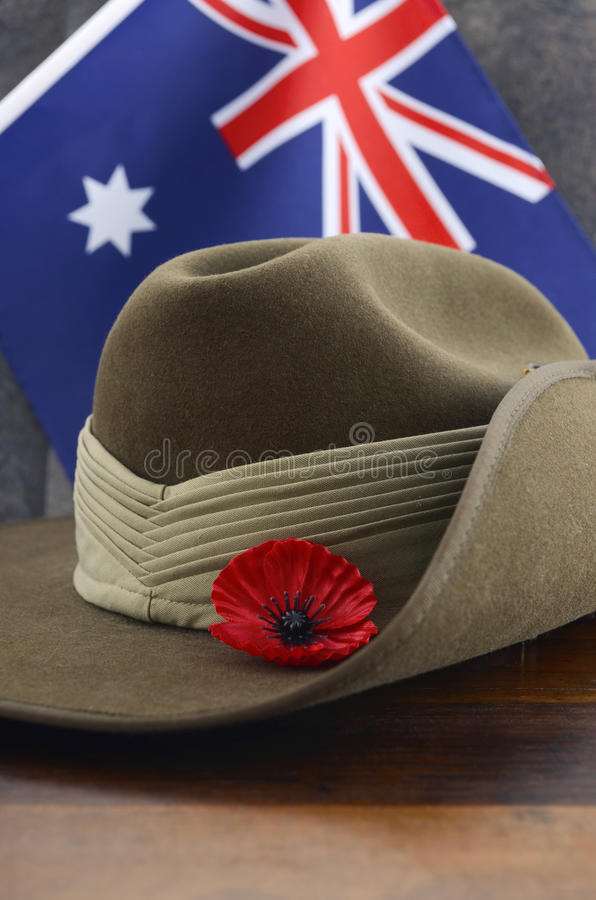 Australian Anzac Day army slouch hat royalty free stock photos
