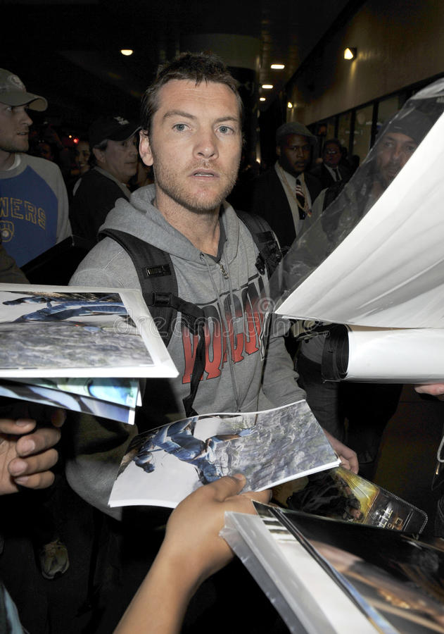 Australian Avatar actor Sam Worthington at LAX royalty free stock image