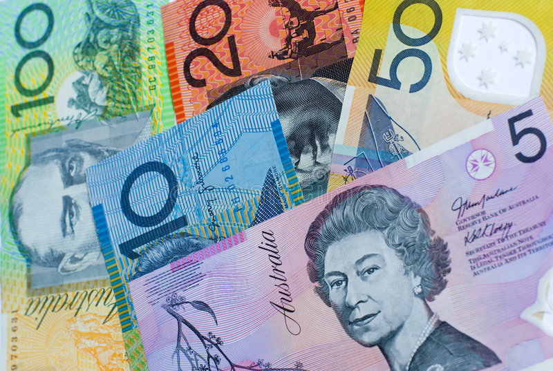 Australian bank notes. Five different denominations of Australian dollar notes royalty free stock photo