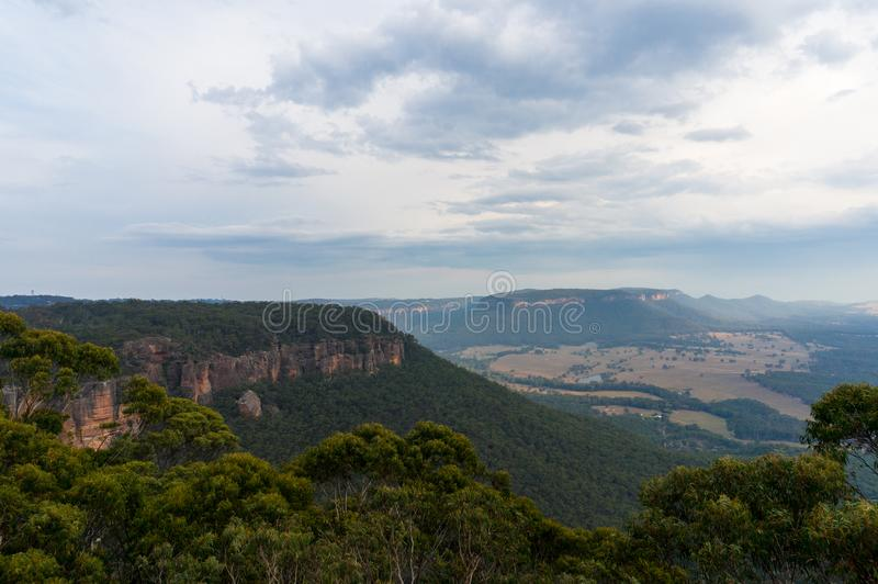 Australian Blue Mountains national Park panoramic view royalty free stock images