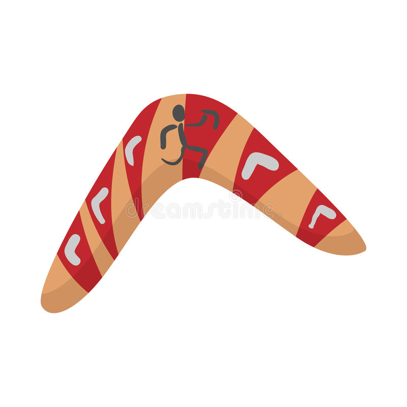Australian boomerang icon, cartoon style royalty free illustration