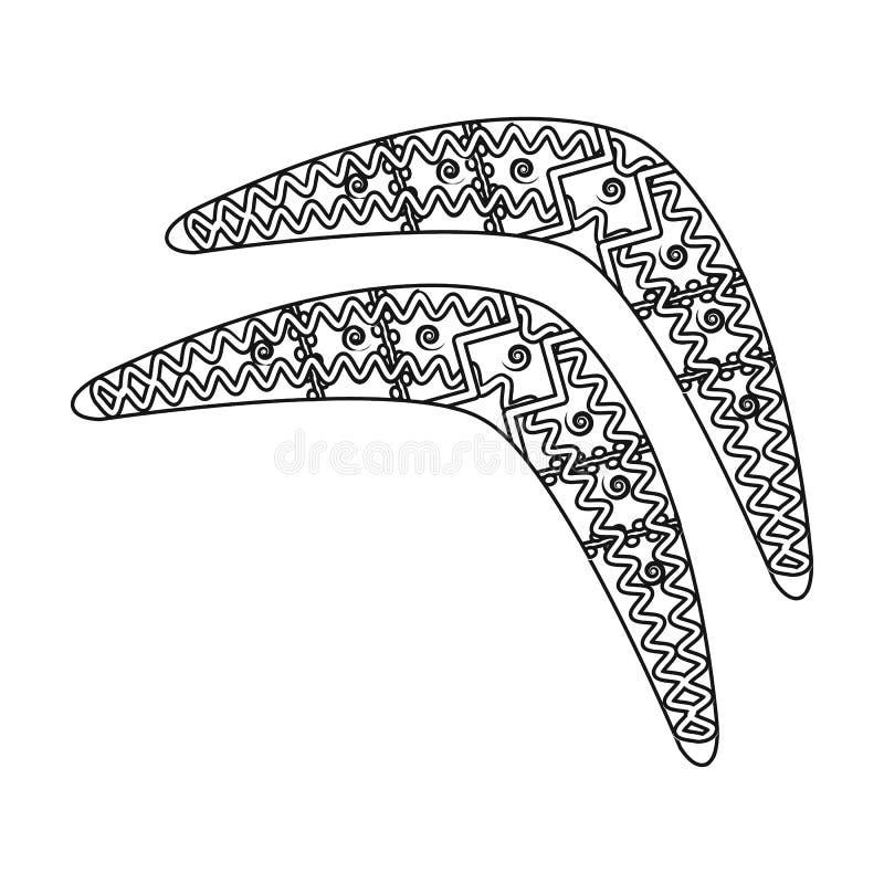 Australian boomerang icon in outline style isolated on white background. Australia symbol stock vector illustration. Australian boomerang icon in outline design stock illustration