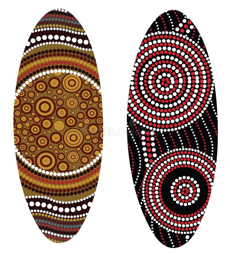 Australian boomerang vector. Illustration based on aboriginal style of boomerang stock illustration
