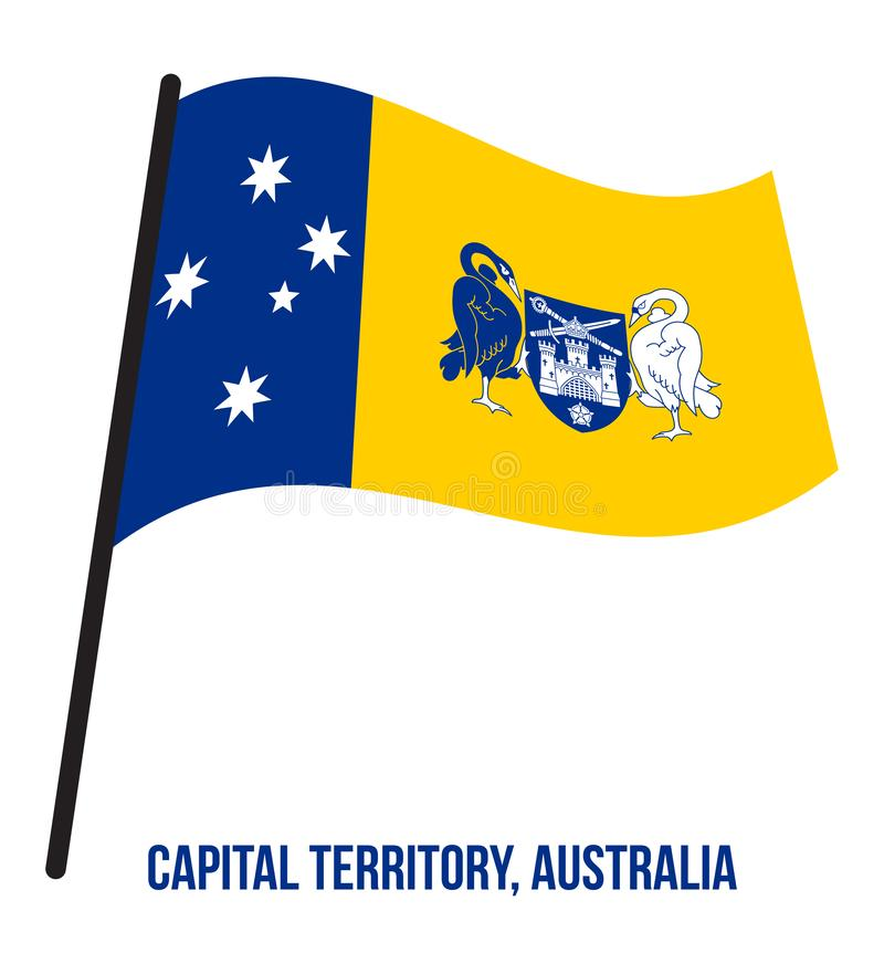 Australian Capital Territory ACT Flag Waving on White Background. Territory Flag of Australia vector illustration