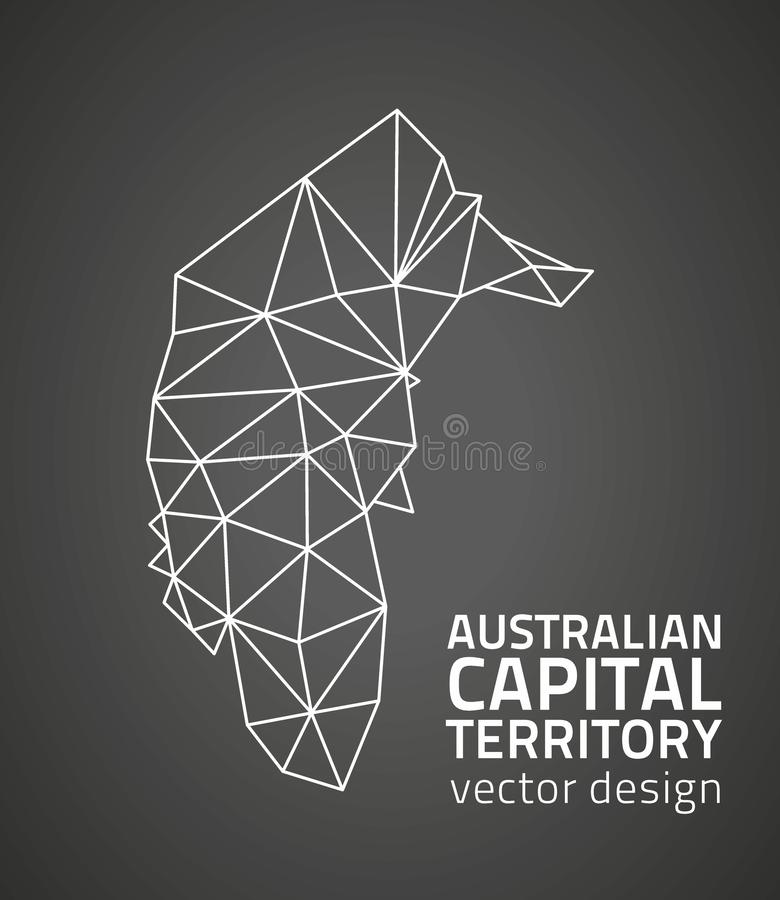 Australian Capital Territory dark vector contour triangle perspective map vector illustration