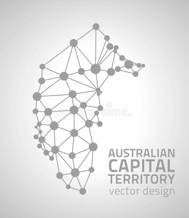 Australian Capital Territory grey dot outline vector triangle map stock illustration