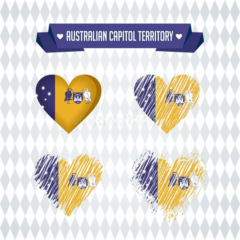 Australian Capital Territory heart with flag inside. Grunge vector graphic symbols vector illustration
