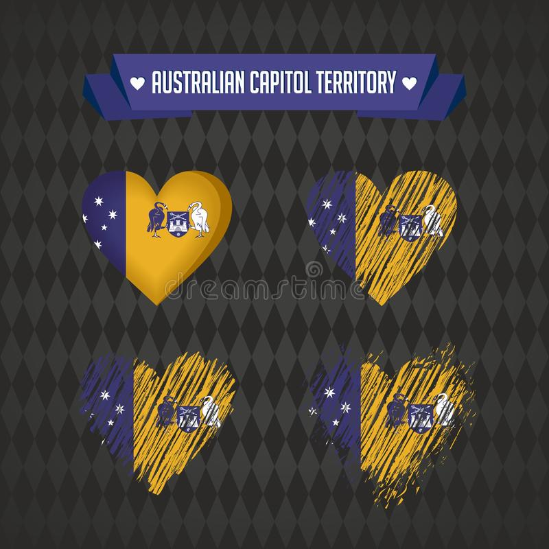 Australian Capital Territory with love. Design vector broken heart with flag inside. royalty free illustration