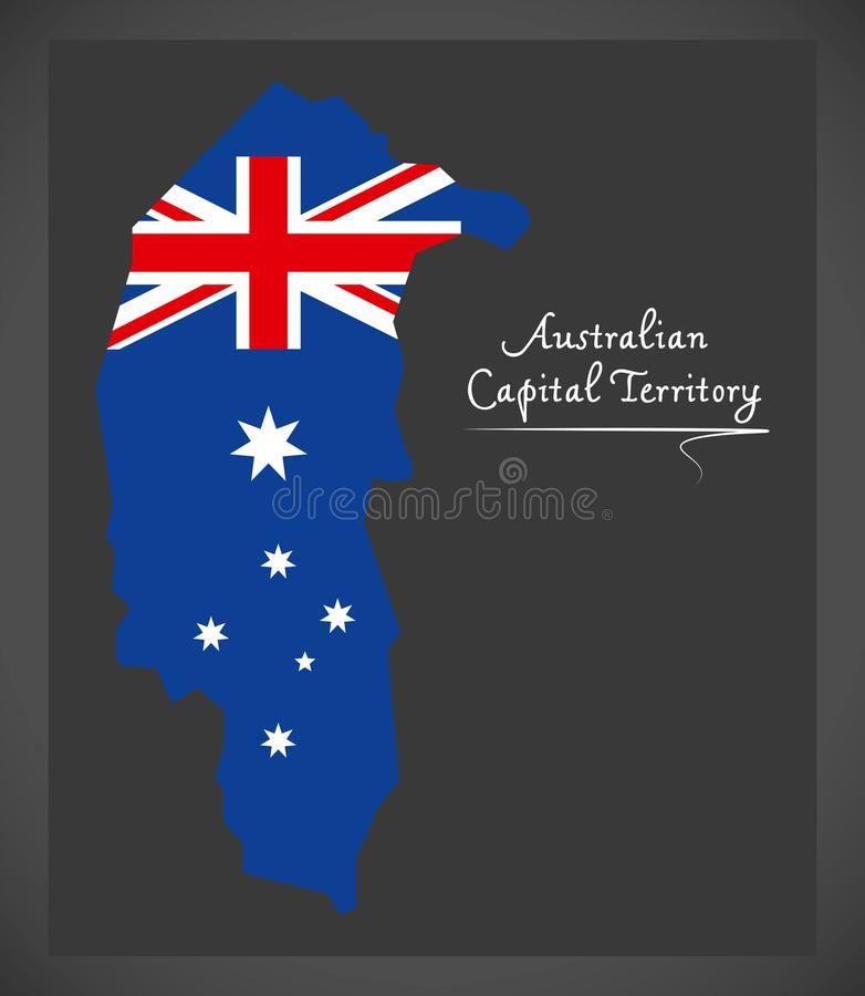 Australian Capital Territory map with national flag illustration. Australian Capital Territory map with national flag vector illustration