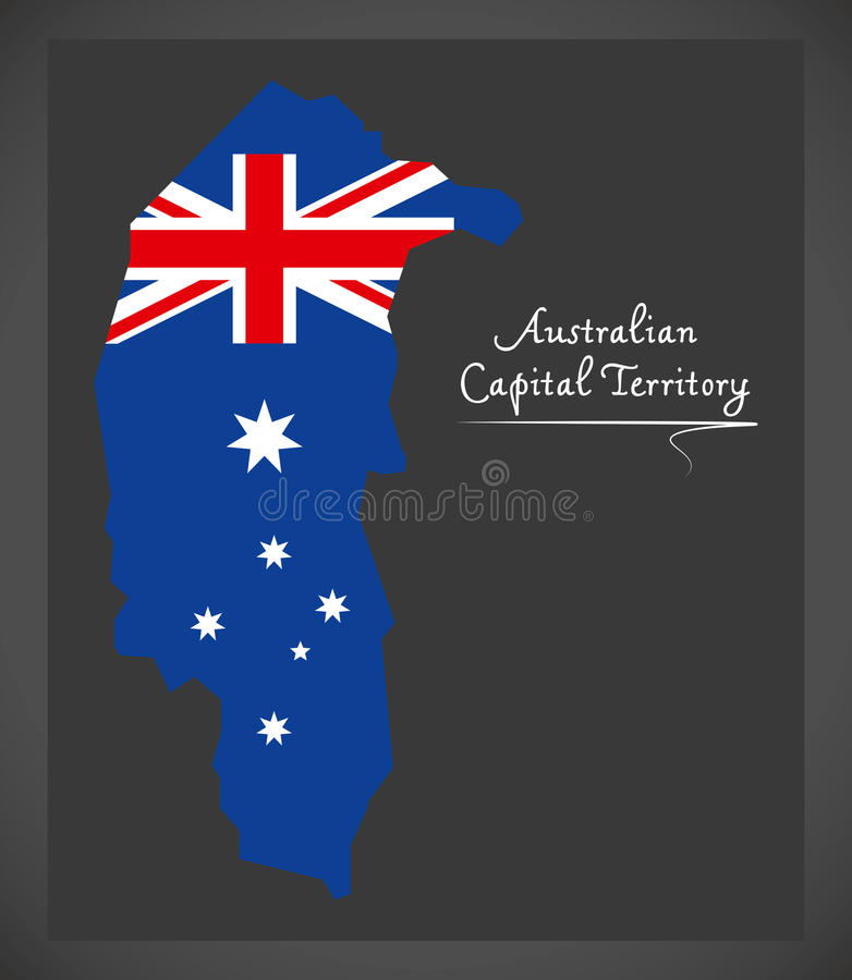 Australian Capital Territory map with national flag illustration. In artwork style vector illustration