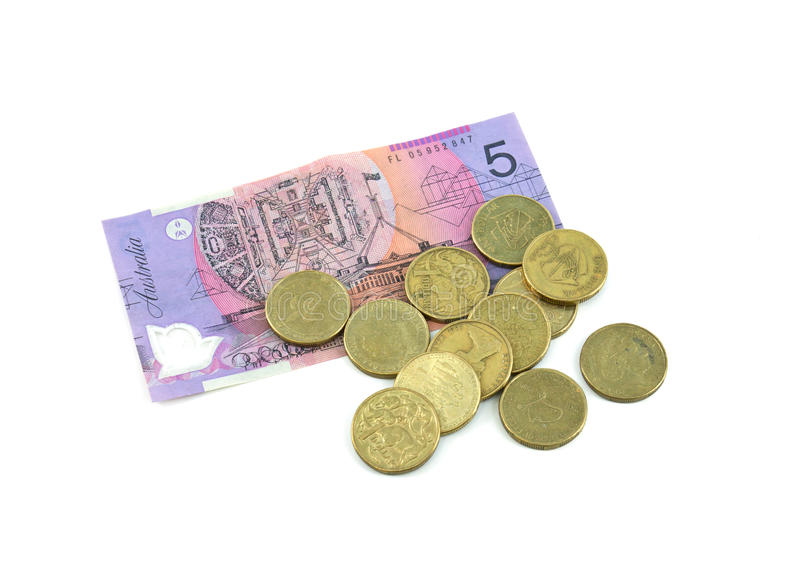 Australian cash. Australian Currency notes and coins on white background stock image
