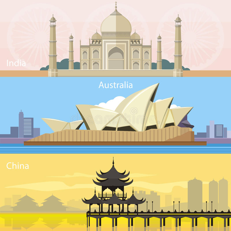 Australian, China and India stock photo